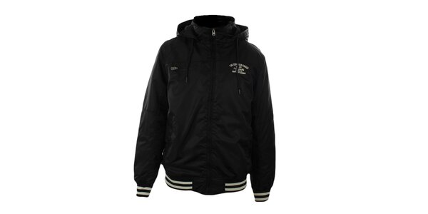 Pánská černá bunda s kapucí Exe Jeans