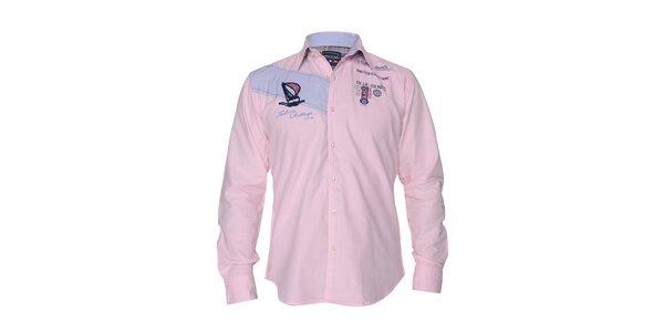 Pánská světle růžová košile s nášivkami na hrudi Giorgio di Mare