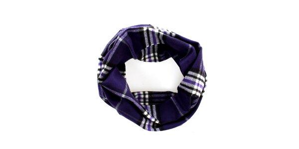Dámský tmavě fialový kruhový šál s klasickým vzorem Fraas