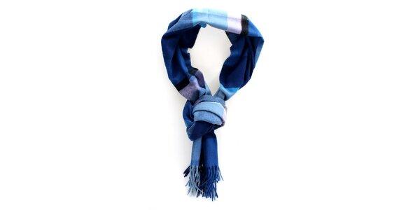Modrá kostkovaná šála Fraas s třásněmi