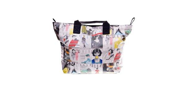 Dámská béžová plážová taška Elle s barevným vintage potiskem