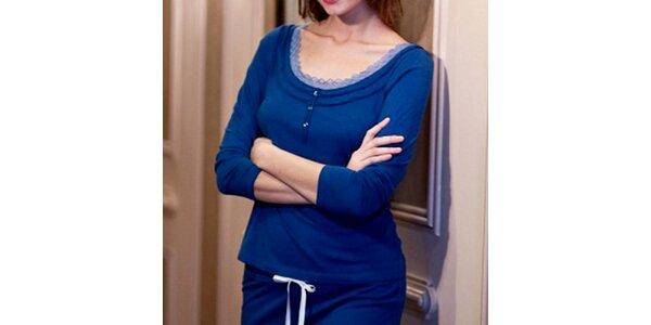 Dámské modré tričko s tříčtvrtečními rukávy Les Affaires