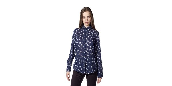 Dámská modrá košile s motivem koní Gene