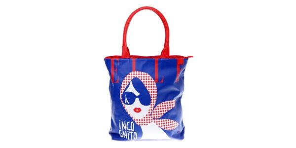 Dámská modrá taška Elle s červenými detaily