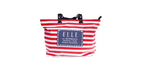 Dámská červeno-bílá proužkovaná plážová taška Elle