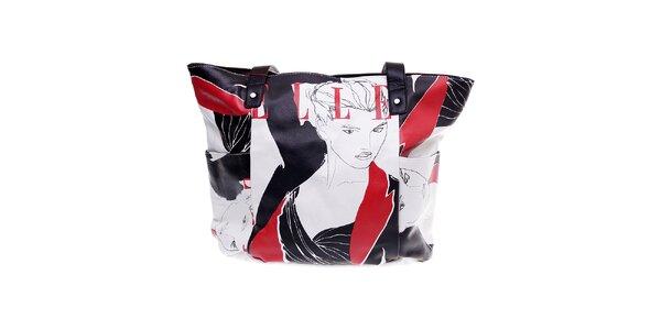 """Dámská bílá kabelka Elle """"shopper"""" s černo-červeným potiskem"""