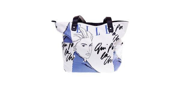 """Dámská bílá kabelka Elle """"shopper"""" s černo-modrým potiskem"""