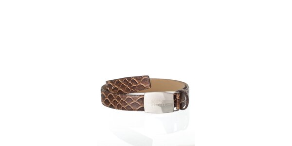 Tmavě hnědý kožený pásek Gianfranco Ferré v efektu hadí kůže
