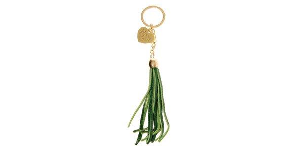 Dámský zelený přívěsek na kabelku Hope s třásněmi