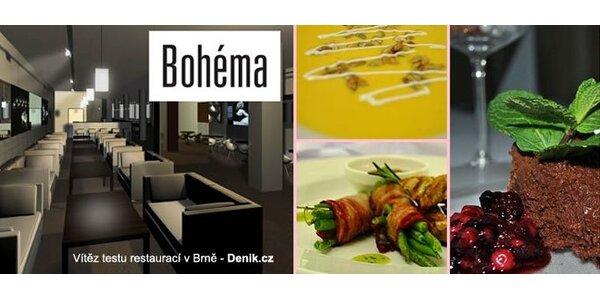499 Kč za luxusní menu pro dva v Café Restaurant Bohéma. Sleva 56 %.