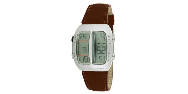 Stříbrné digitální hodinky s hnědým koženým řemínkem RG512