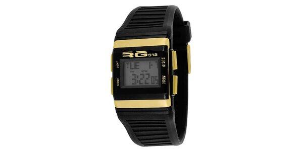 Černé digitální hodinky se žlutými detaily RG512