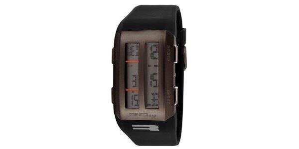 Hnědé digitální hodinky s půleným displejem RG512