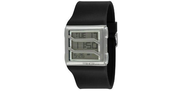 Stříbrné hranaté digitální hodinky s černým řemínkem RG512