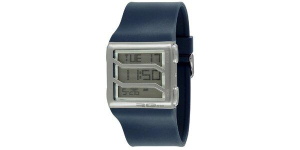 Stříbrné hranaté digitální hodinky s modrým řemínkem RG512