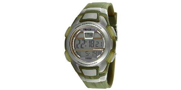 Zelenostříbrné kulaté digitální hodinky RG512