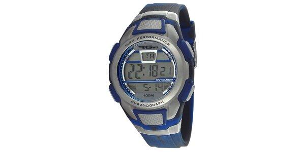 Modrostříbrné kulaté digitální hodinky RG512