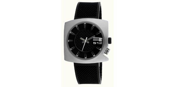 Ocelové futuristické hodinky s koženým černým řemínkem RG512