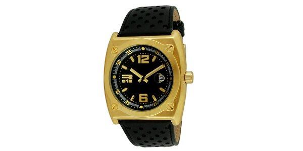 Ocelové hodinky zlaté barvy s černým perforovaným řemínkem RG512