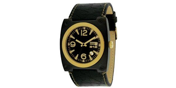 Černé hranaté hodinky s datumovkou RG512