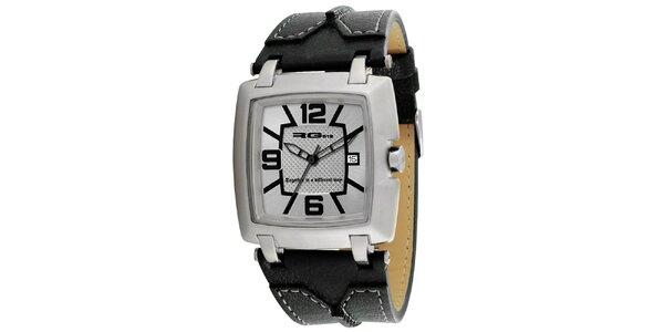 Analogové hodinky s koženým černým řemínkem RG512
