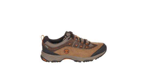 Pánské hnědé trekové boty s oranžovými detaily Timberland