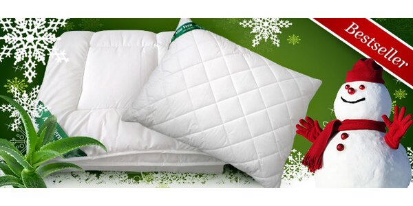 Zimní přikrývky, polštáře s úpravou Aloe Vera, 1+1 zdarma!