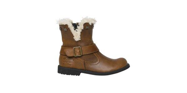 Dámské hnědé kotníkové boty s kožíškem Buggy