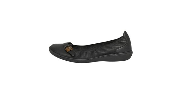 Dámské černé kožené baleríny s páskem Buggy