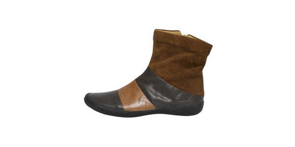 Dámské hnědočerné kotníčkové boty Buggy