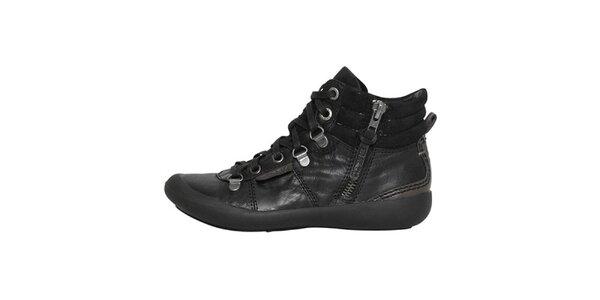 Dámské černé boty se zipem a šněrováním Buggy