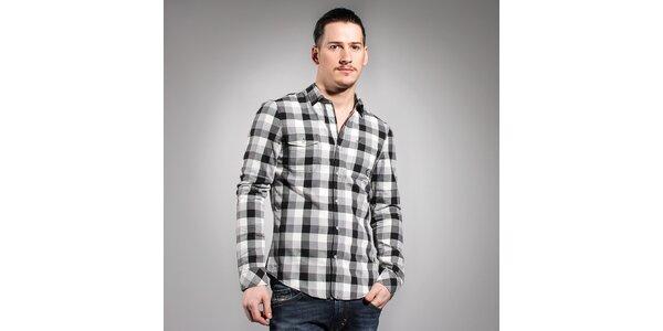 Pánská černobílá kostkovaná košile Diesel