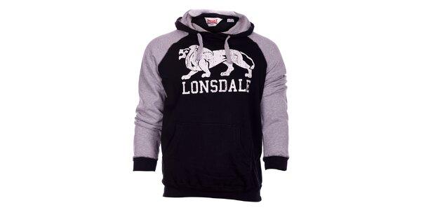 Pánská černo-šedá mikina Lonsdale