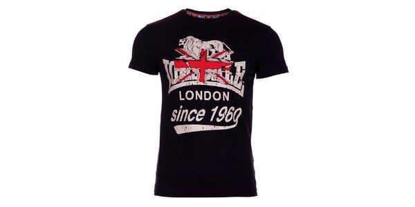 Pánské černé tričko Lonsdale s potiskem