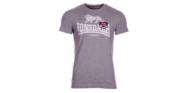 Pánské světle šedé melírované tričko Lonsdale s potiskem