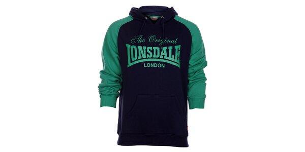 Pánská modro-zelená mikina Lonsdale s potiskem