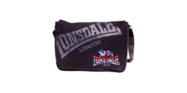 černá taška přes rameno Lonsdale s potiskem