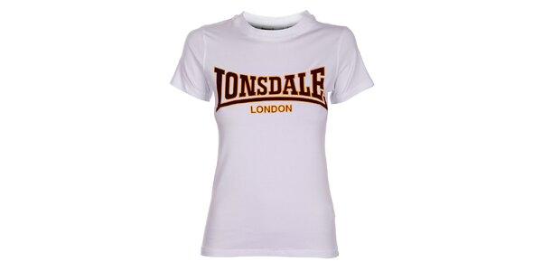 Dámské bílé tričko Lonsdale se semišovým potiskem