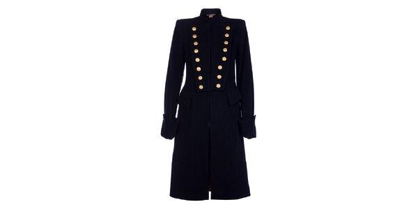 Dámský dlouhý černý kabát Pietro Filipi se zlatými knoflíky