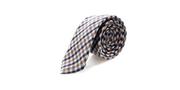 Pánská kostkovaná hnědo-modrá kravata Pietro Filipi