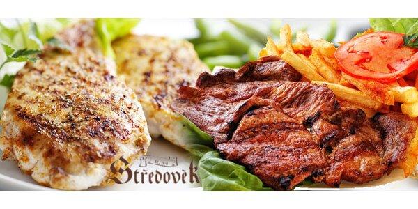 600 g steaků, čtveřice příloh a dva drinky