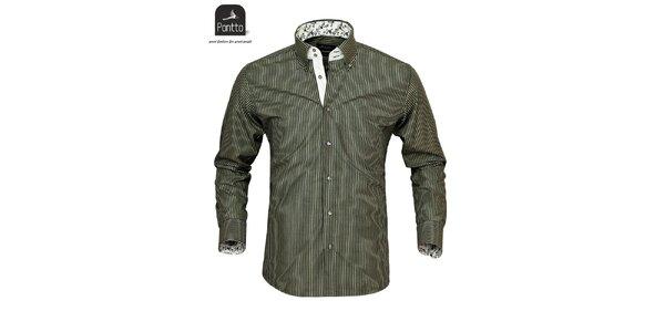 Pánská černo-bíle pruhovaná košile Pontto