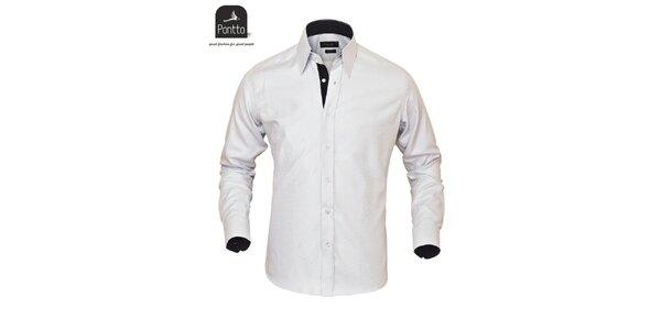 Pánská bílá sportovní košile na knoflíky Pontto