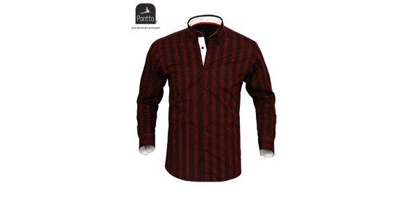 Pánská sportovní košile s červenými proužky Pontto