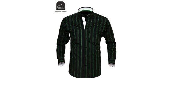 Pánská černá košile se zelenými proužky košile Pontto