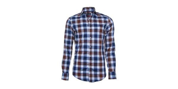 Pánská modro-hnědá kostkovaná košile Pontto