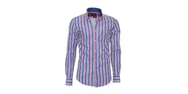 Pánská modro-červeno-bíle pruhovaná košile Pontto