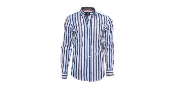 Pánská bílá košile Ponto s modro-hnědými pruhy