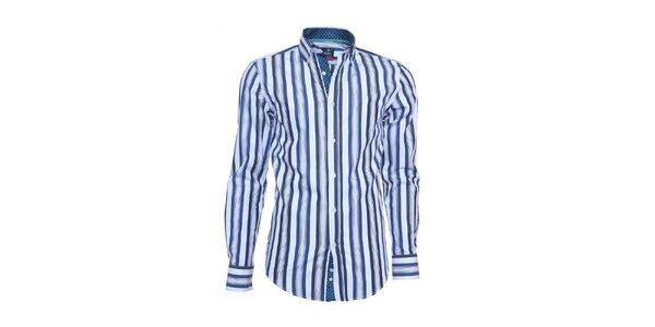 Pánská bílá košile Ponto s modrými pruhy