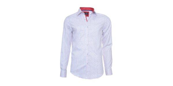 Pánská kostkovaná košile Pontto s červeně podšitým límcem